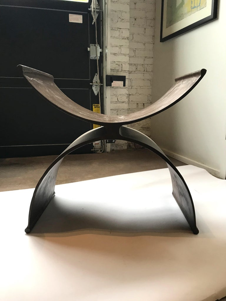 Contemporary 21st Century Hand Finished Aluminum Foundry Collection Stool, Michael Del Piero For Sale