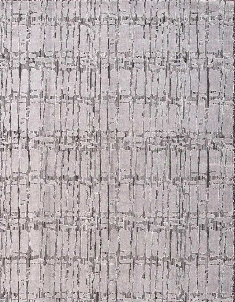 Indian 21st Century Hand Loom Silver and Gray Abstract Wool and Silk Carpet For Sale