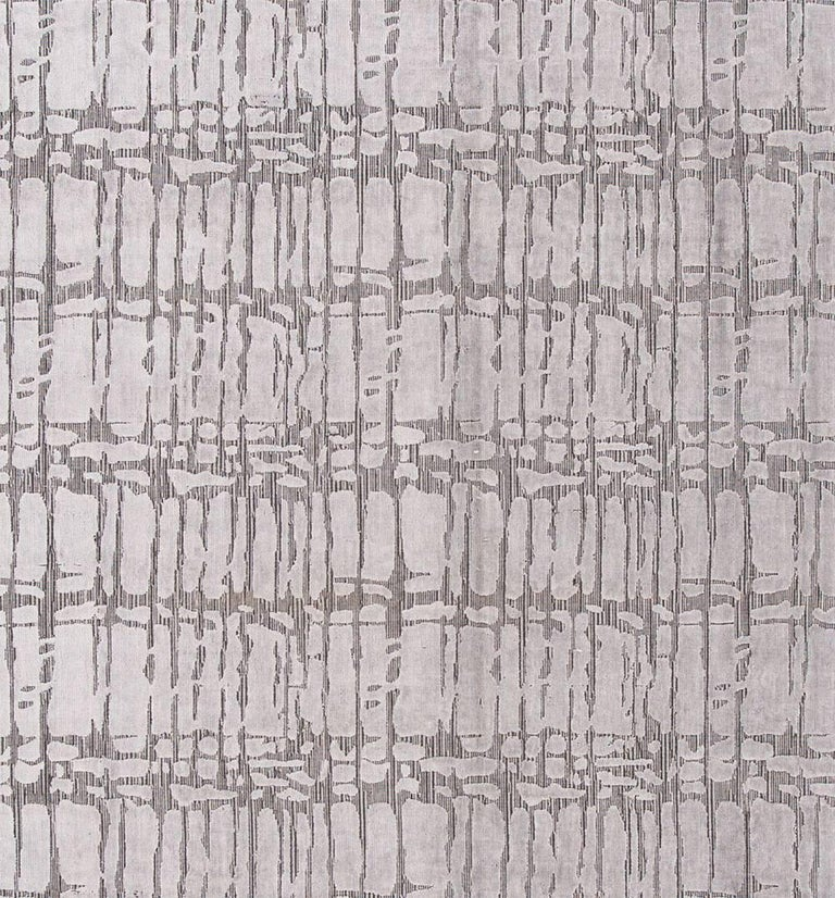 Hand-Woven 21st Century Hand Loom Silver and Gray Abstract Wool and Silk Carpet For Sale
