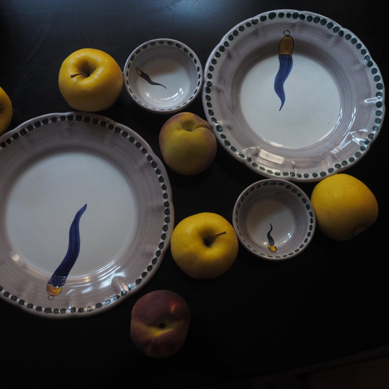 Italian 21st Century Hand Painted Ceramic 6 Dinner Plates in Blue and White Handmade For Sale