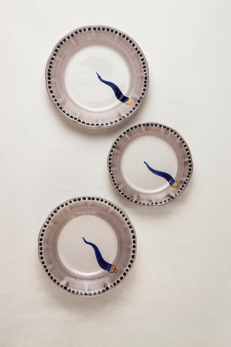 21st Century Hand Painted Ceramic 6 Dinner Plates in Blue and White Handmade In New Condition For Sale In Milan, IT