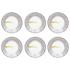 21st Century Hand Painted Ceramic Dinner Plates in Green and White Made in Italy