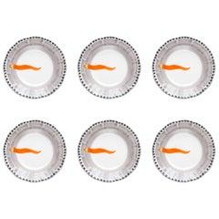 21st Century Hand Painted Ceramic 6 Dinner Plates in Orange and White Handmade