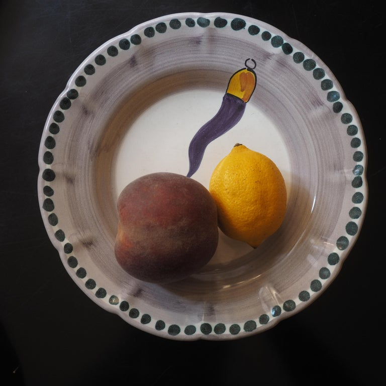 Italian 21st Century Hand Painted Ceramic 6 Side Plate in Purple and White Handmade For Sale