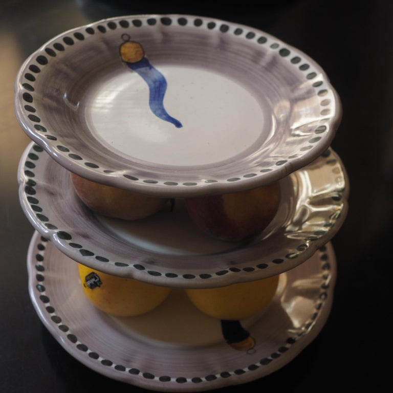 Vietri collection - O'Curniciello - ceramic plates, created following a lengthy and complex production process. The first phase involves shaping the clay on the wheel, from which the form and structure is given. Followed by a first kiln firing at
