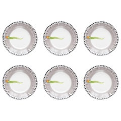 21st Century Hand Painted Vietri Ceramic 6 Soup Plate in Green and White Italy