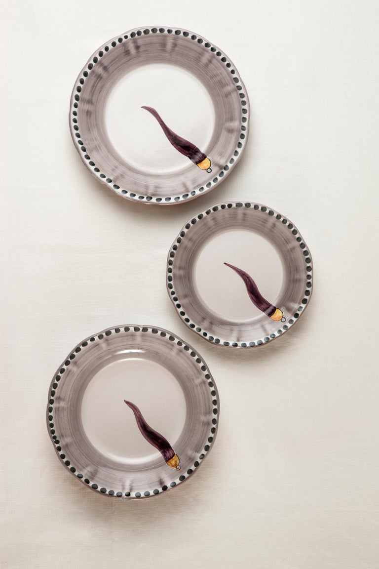 21st Century Hand Painted Ceramic 6 Soup Plate in Purple and White Handmade In New Condition For Sale In Milan, IT