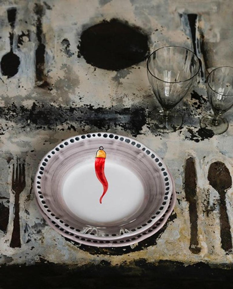 Contemporary 21st Century Hand Painted Ceramic 6 Soup Plate in Red and White Handmade For Sale