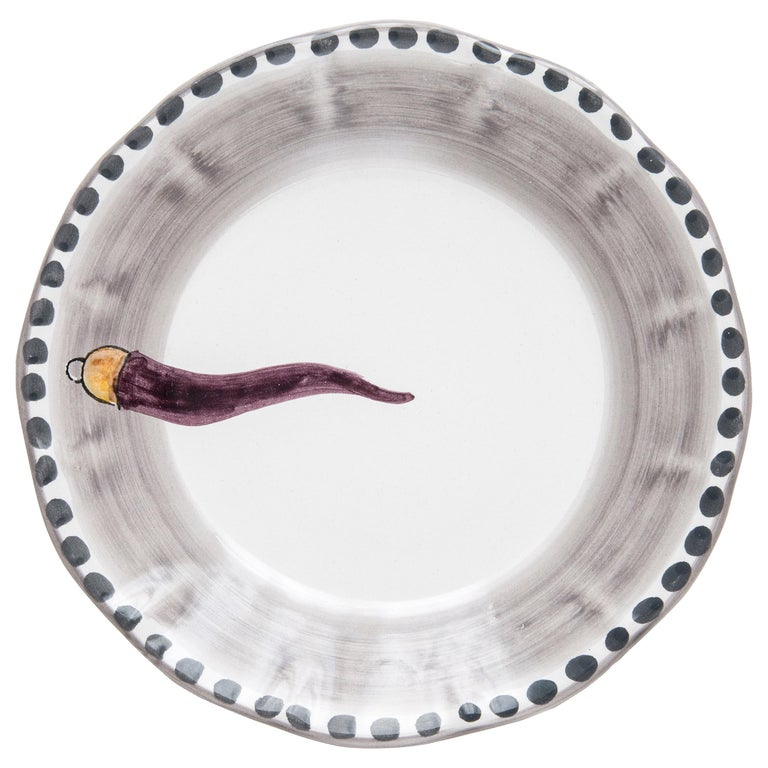 21st Century Hand Painted Ceramic Soup Plate in Purple and White Handmade For Sale