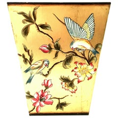 21st Century Hand Painted Gold Leaf Tole Waste Basket