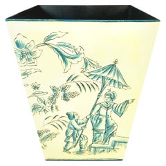 21st Century Hand Painted Printed Chinoiserie Tole Waste Basket