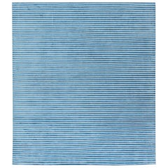 21st Century Hand Tufted Rug in Light Blue and White Stripes