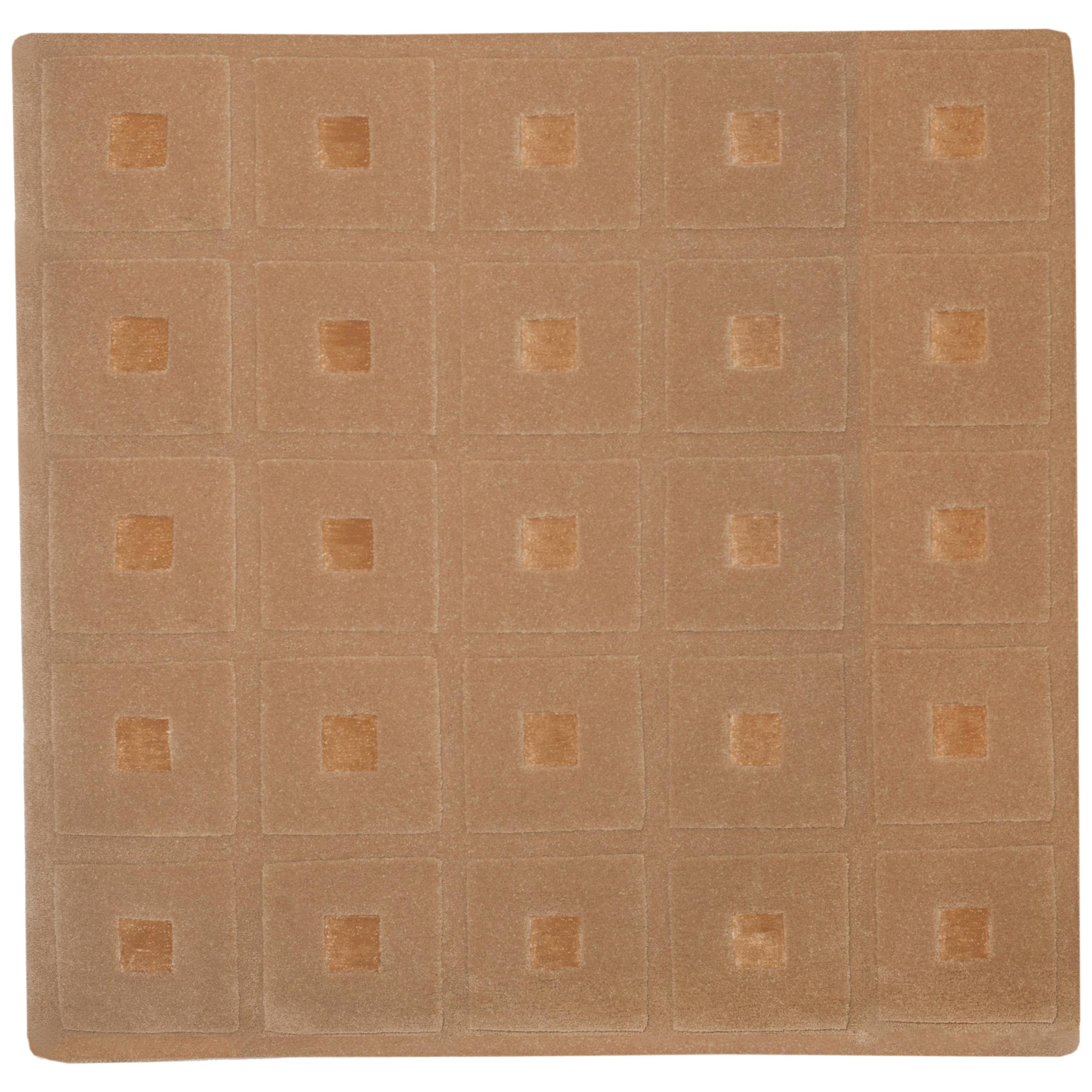 21st Century Hand Tufted Wool and Silk Rug Carpet Made in Spain Checkers Brown
