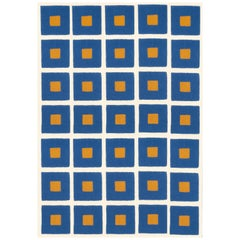 21st Century Hand Tufted Wool Rug Made in Spain Checkers Blue, White and Mustard
