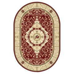 21st Century Handknotted Oval Bamboo Silk Rug by Modenese Interiors, Scarlet