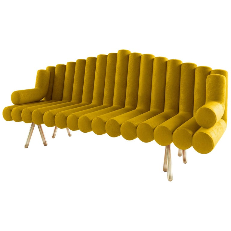 Yellow Velvet Sofa With Brass Leg For Sale