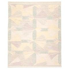 21st Century Handmade Flat-Weave Rug Scandinavian Design over Beige and Green