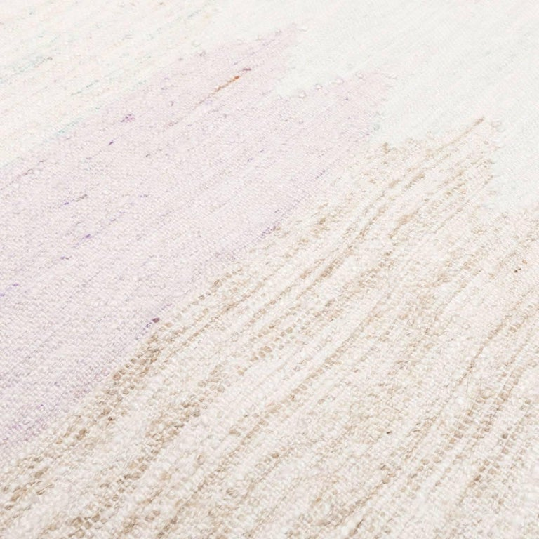 Wool 21st Century Handmade Flat-Weave Rug Scandinavian Design over Beige and Pink For Sale