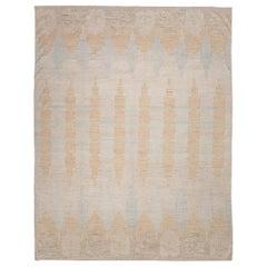 21st Century Handmade Flat-Weave Rug Scandinavian Design over Soft Colors