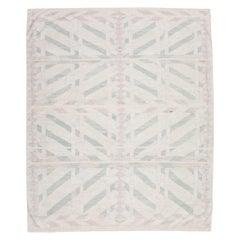 21st Century Handmade Flat-Weave, Scandinavian Design over Beige, Pink and Green