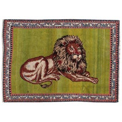 21st Century Handmade Persian Gabbeh Pictorial Lion Accent Rug