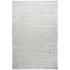 21st Century Handmade Silk and Wool Rug in Silver Gray and Lilac Stripes