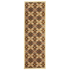 21st Century Handmade Wool Runner in Beige, Brown, Gray and Cream Dots