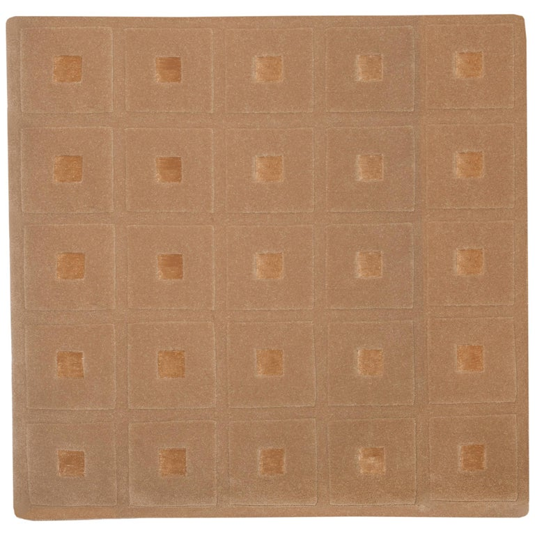 21st Century Handtufted Wool and Silk Rug Carpet made in Spain Checkers Brown For Sale