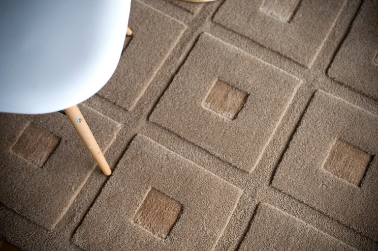 Spanish 21st Century Handtufted Wool and Silk Rug Carpet made in Spain Checkers Brown For Sale