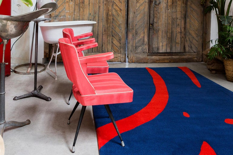 Modern 21st Century Handtufted Wool Rug Carpet Made in Spain Blue and Red Coco Davez For Sale