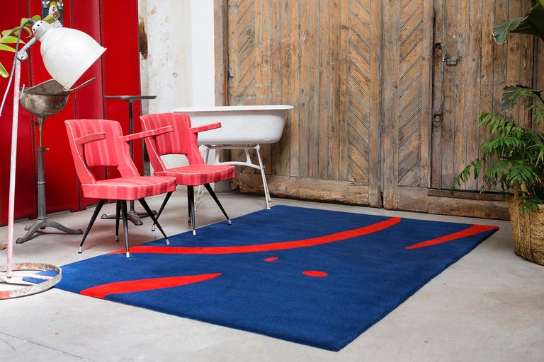 Spanish 21st Century Handtufted Wool Rug Carpet Made in Spain Blue and Red Coco Davez For Sale