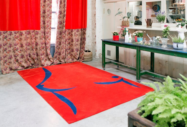 Spanish 21st Century Handtufted Wool Rug Carpet made in Spain Red and Blue Coco Davez For Sale