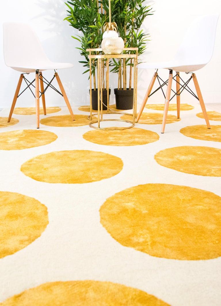 Modern 21st Century Handtufted Wool & Silk Rug made in Spain Mustard & White Polka Dots For Sale