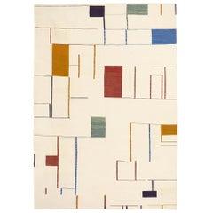 21st Century Handwoven Color Blocks Kilim 100 Years Bauhaus
