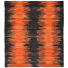 21st Century Handwoven Fiery Orange Black Mazandaran Kilim Carpet