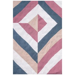 21st Century Handwoven Flat-Weave Wool Kilim Rug Beige Pink Blue and Gold
