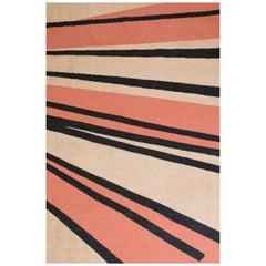 21st Century Handwoven Flat-Weave Wool Kilim Rug black gold and Terracotta