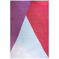 21st Century Handwoven Flat-Weave Wool Kilim Rug Red Pink Purple Light Blue