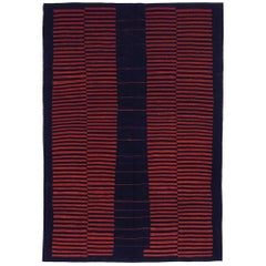 21st Century Handwoven Red & Black Mazandaran Kilim Carpet 100 Years Bauhaus