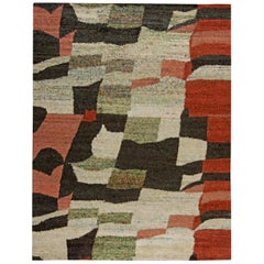 21st Century Harlem Handmade Silk Rug in Black, Red and Ivory