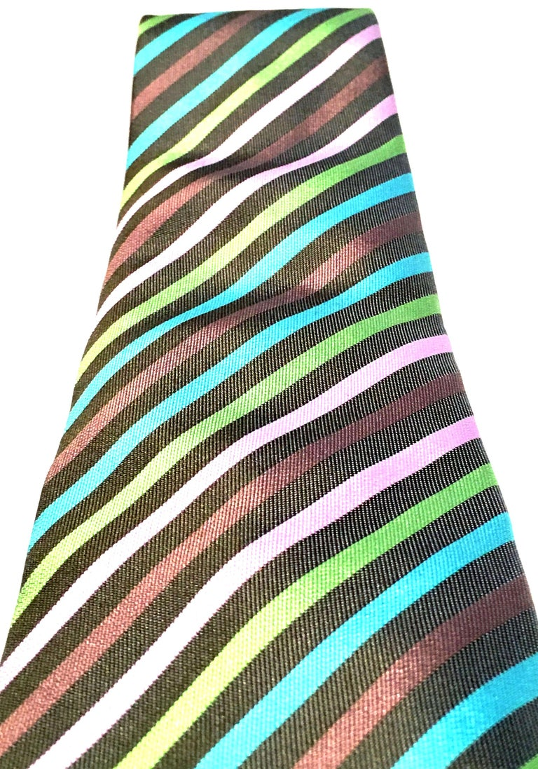21st Century Hermes Paris Striped Silk Neck Tie In Good Condition In West Palm Beach, FL