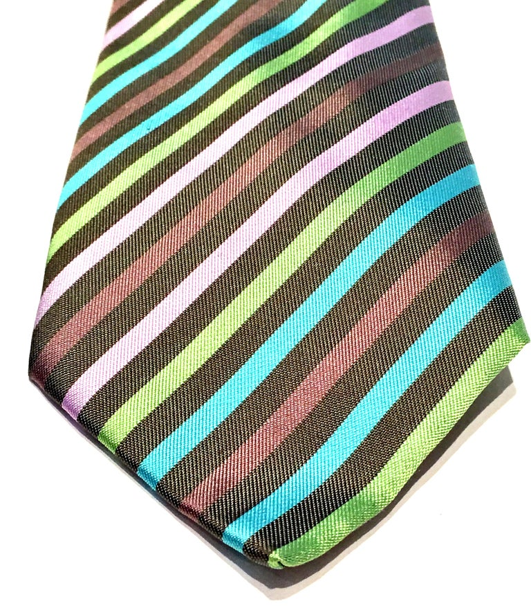 21st Century Hermes Paris Striped Silk Neck Tie 1