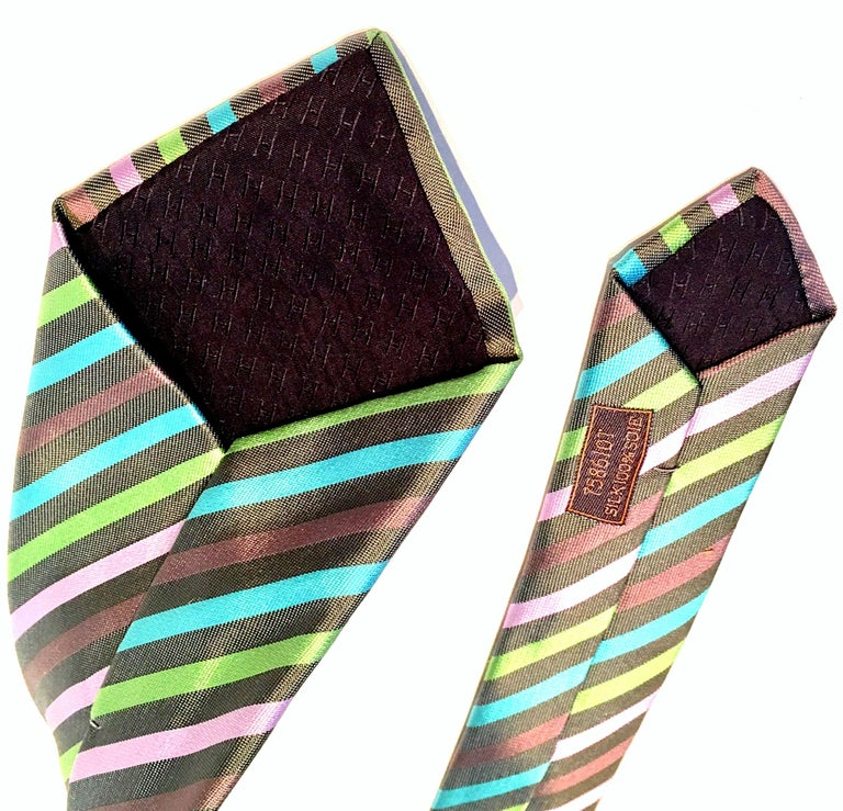 21st Century Hermes Paris Striped Silk Neck Tie 2