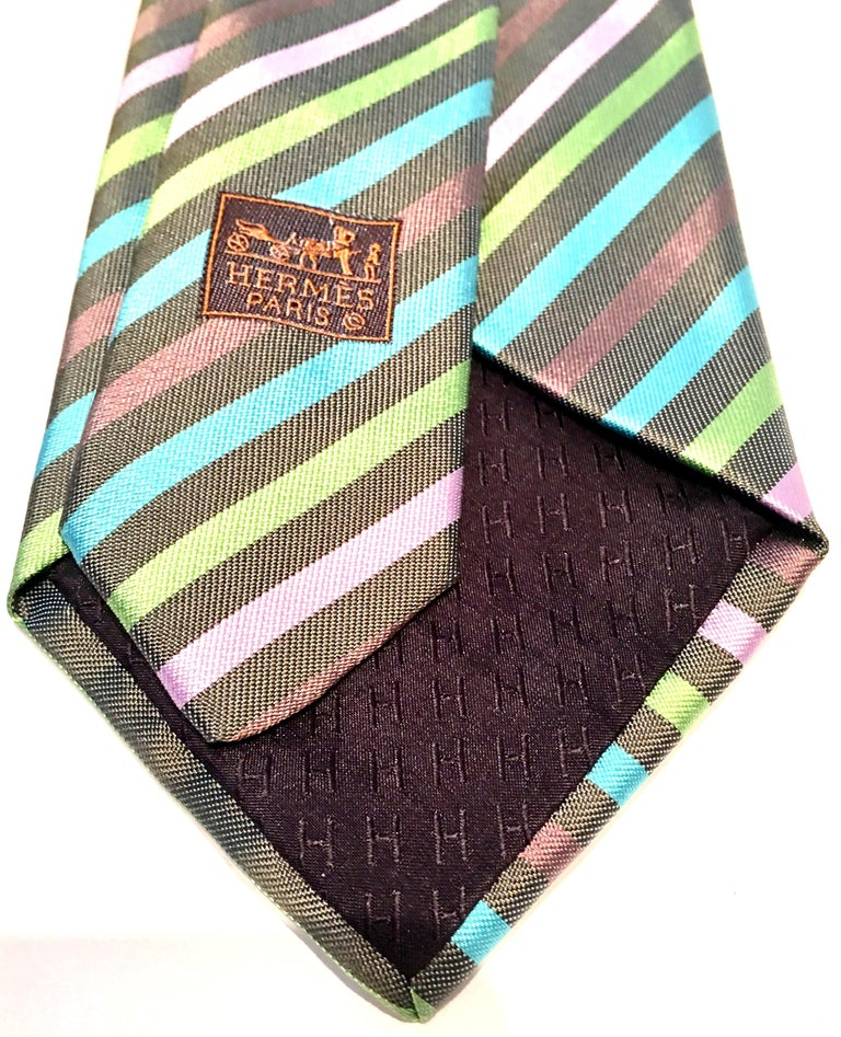 21st Century Hermes Paris Striped Silk Neck Tie 3