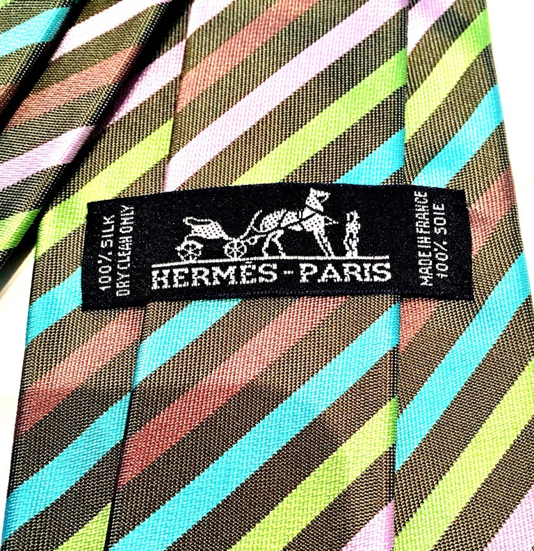 21st Century Hermes Paris Striped Silk Neck Tie 4