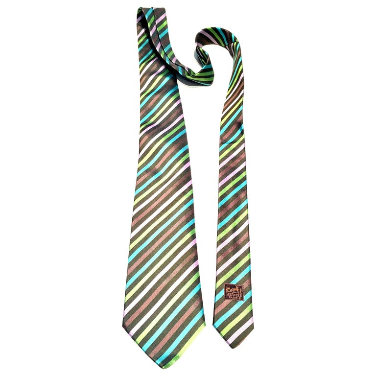 21st Century Hermes Paris Striped Silk Neck Tie