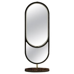 21st Century Hidden Floor Mirror Marble and Brass