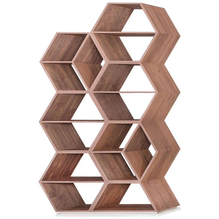 21st Century Hobart Bookcase Slanted Shape Walnut Champagne Lacquer For Sale