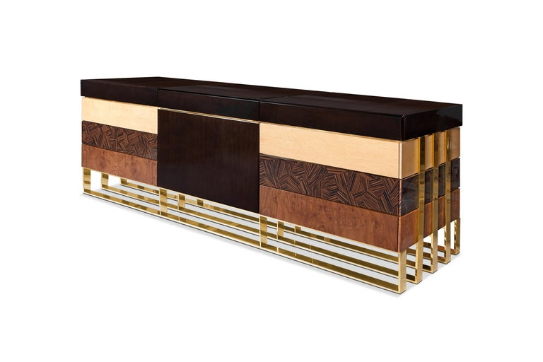 Portuguese 21st Century Hollow Sideboard Multiple Woods For Sale