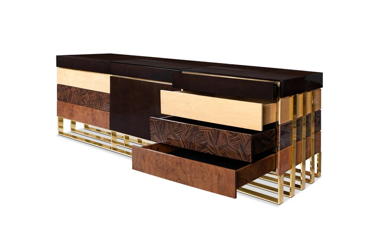 Polished 21st Century Hollow Sideboard Multiple Woods For Sale